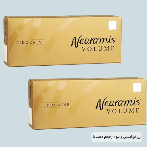 تصویری از یک عدد ژل والیوم نورامیس برای فروش که قیمت آن در سایت فروش موجود است . رنگ پس زمینه متناسب با رنگ محصولات نورامیس می باشد