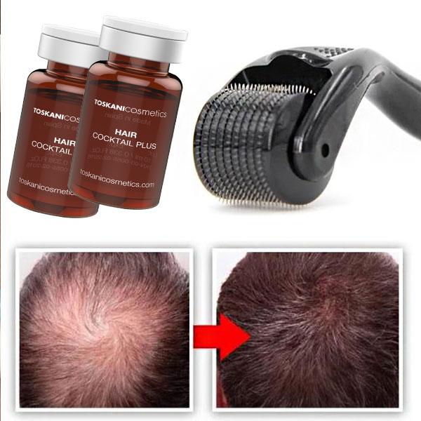 کوکتل توسکانی برای مو و تاثیر آن بر روی موی سر قبل و بعد از استفاده از آن کاملا مشخص می باشد. زمینه تصویر سفید می باشد