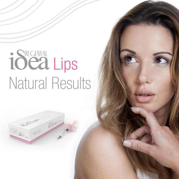 یک خانم در سمت راست تصویر و یک بسته پرکننده پوستی آیدیا از نوع لب یا لیپس در تصویر مشهود می باشد . زمینه تصویر سفید می باشد