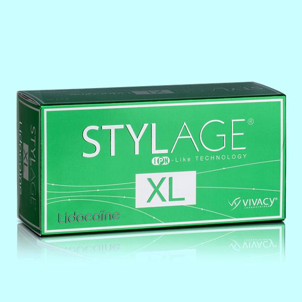 بسته بندي ژل استايلج ايکس ال که به رنگ سبز مي باشد. قيمت خريد فيلر استايلج مدل ايکس ال