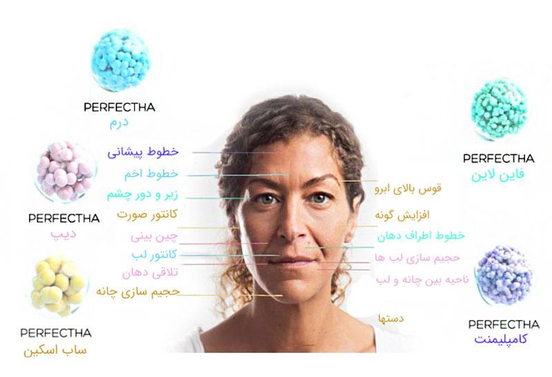 تصویر اجزای صورت یک خانم و ژل پرفکتا مناسب آن را با رنگ مخصوص میبینیم