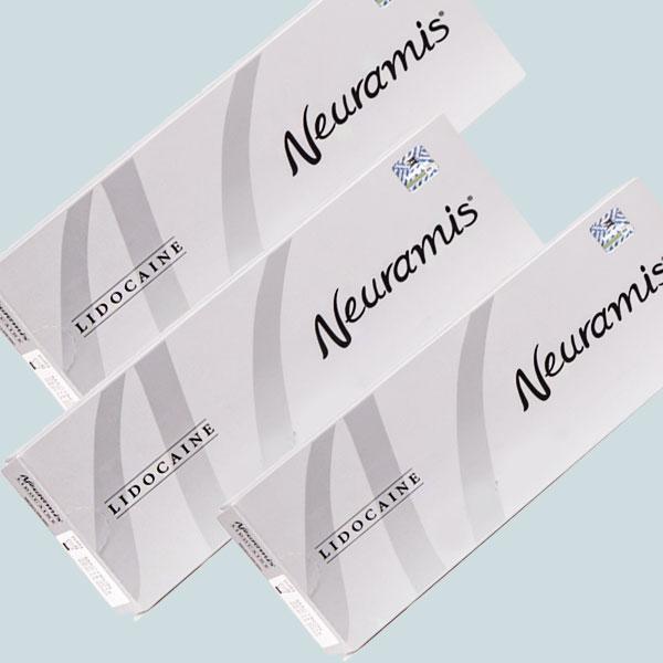 سه عدد از بسته بندی فیلر نورامیس برای زیر چشم لیدوکائین دار
