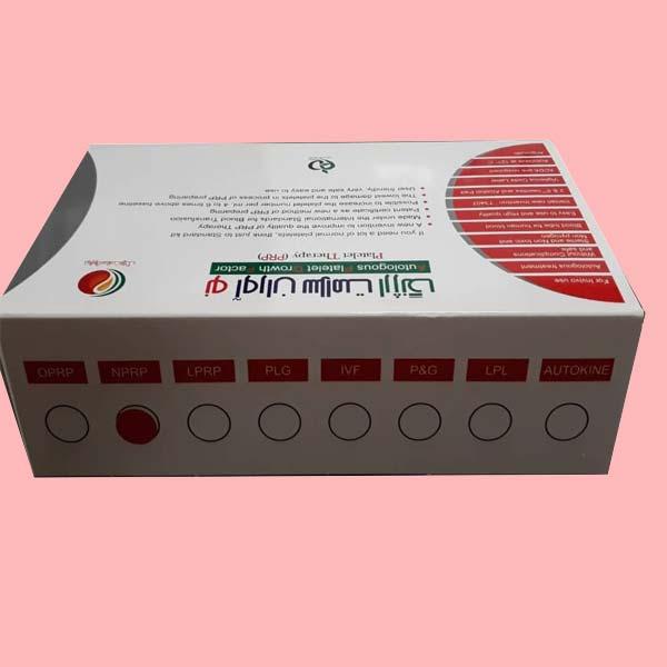 نمایش انواع کیت های پی آر پی استاندارد کیت روی جعبه