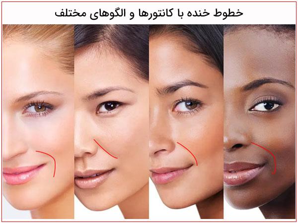 تصاویر چهار خانم با خط خنده ها مختلف در تصویر مشهود می باشد
