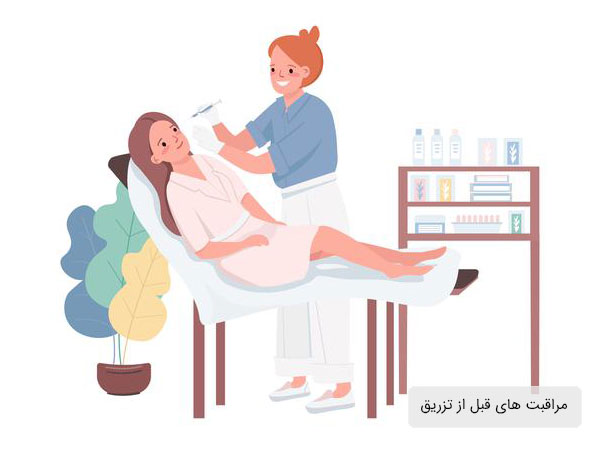 تصویر خانمی در حال تزریق پر آر پی برای زیبایی و جوانسازی . بیمار بصورت نشسته قرار دارد