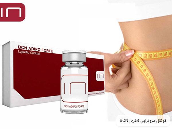 تصویری از کوکتل مزوتراپی لاغری ضد سلولیت آدیپو فورته در کنار کمر لاغر شده یک شخص با زمینه سفید