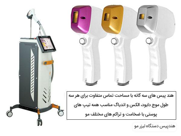 تصویری از هندپیس های مختلف دستگاه لیزر مو ftec اف تک