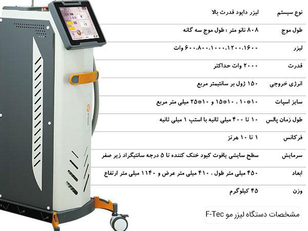 مشخصات دستگاه لیزر مو اف تک در تصویر مشخص می باشد