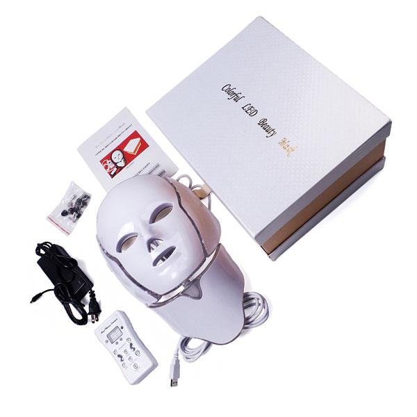 تصویر پکیج و محتویات بسته ماسک ال ای دی تراپی رنگی با بهترین قیمت و کیفیت