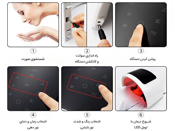 نحوه کار با دستگاه تونل ال ای دی برای نور درمانی پوست صورت
